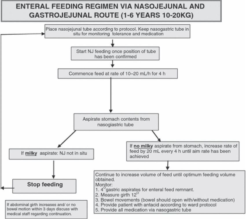 Sample nasojejunal feeding protocol for patients 1-6 years (from Meyer et al, Journal of Human Nutrition and Dietetics, 22: 428-436, 2009.